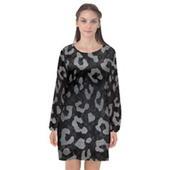 Skin5 Black Marble & Gray Brushed Metal Long Sleeve Chiffon Shift Dress