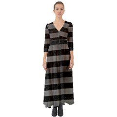 Stripes2 Black Marble & Gray Brushed Metal Button Up Boho Maxi Dress