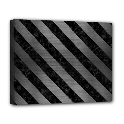 Stripes3 Black Marble & Gray Brushed Metal Deluxe Canvas 20  X 16