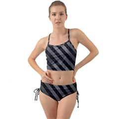 Stripes3 Black Marble & Gray Brushed Metal Mini Tank Bikini Set