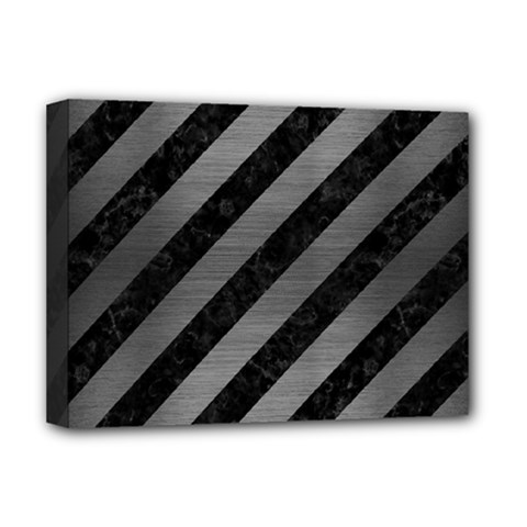 Stripes3 Black Marble & Gray Brushed Metal (r) Deluxe Canvas 16  X 12
