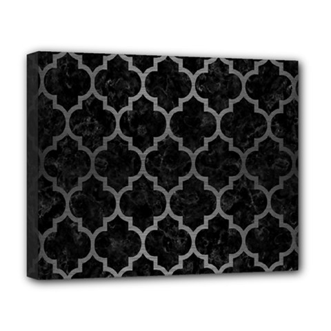 Tile1 Black Marble & Gray Brushed Metal (r) Deluxe Canvas 20  X 16