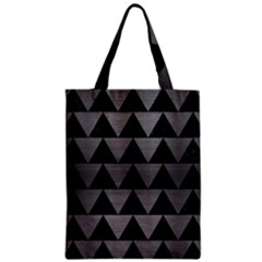 Triangle2 Black Marble & Gray Brushed Metal Zipper Classic Tote Bag