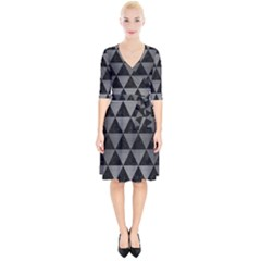 Triangle3 Black Marble & Gray Brushed Metal Wrap Up Cocktail Dress