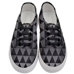 Triangle3 Black Marble & Gray Brushed Metal Women s Classic Low Top Sneakers