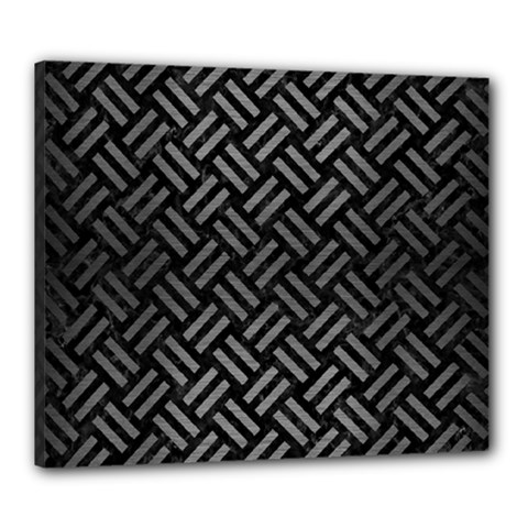 Woven2 Black Marble & Gray Brushed Metal (r) Canvas 24  X 20