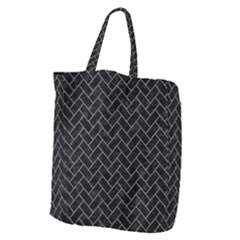 Brick2 Black Marble & Gray Denim (r) Giant Grocery Zipper Tote