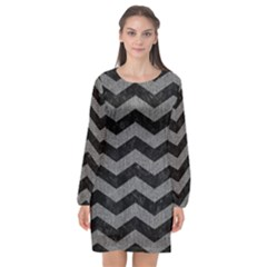 Chevron3 Black Marble & Gray Denim Long Sleeve Chiffon Shift Dress