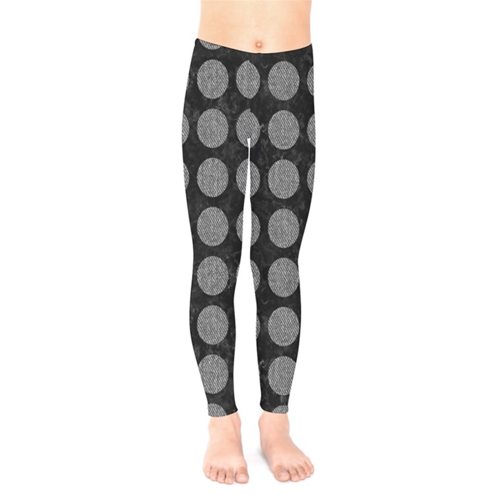 CIRCLES1 BLACK MARBLE & GRAY DENIM (R) Kids  Legging