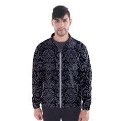 Damask2 Black Marble & Gray Denim (r) Wind Breaker (men)