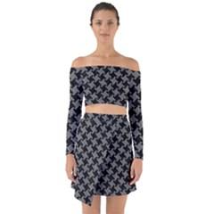 Houndstooth2 Black Marble & Gray Denim Off Shoulder Top With Skirt Set