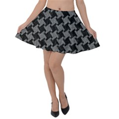 Houndstooth2 Black Marble & Gray Denim Velvet Skater Skirt