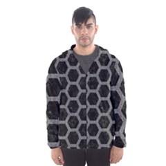 Hexagon2 Black Marble & Gray Denim (r) Hooded Wind Breaker (men)