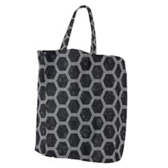Hexagon2 Black Marble & Gray Denim (r) Giant Grocery Zipper Tote