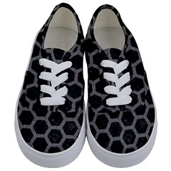 Hexagon2 Black Marble & Gray Denim (r) Kids  Classic Low Top Sneakers