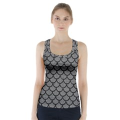 Scales1 Black Marble & Gray Denim Racer Back Sports Top