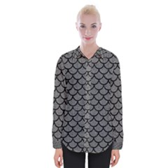 Scales1 Black Marble & Gray Denim Womens Long Sleeve Shirt
