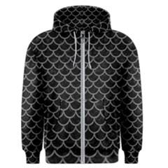 Scales1 Black Marble & Gray Denim (r) Men s Zipper Hoodie