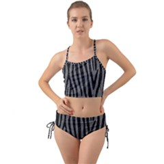 Skin4 Black Marble & Gray Denim (r) Mini Tank Bikini Set