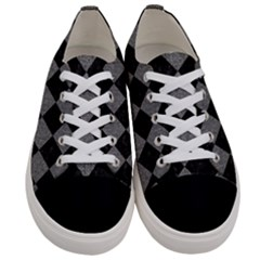 Square2 Black Marble & Gray Denim Women s Low Top Canvas Sneakers