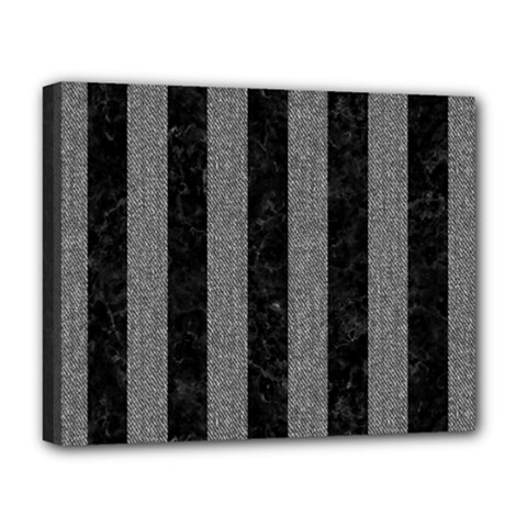Stripes1 Black Marble & Gray Denim Deluxe Canvas 20  X 16