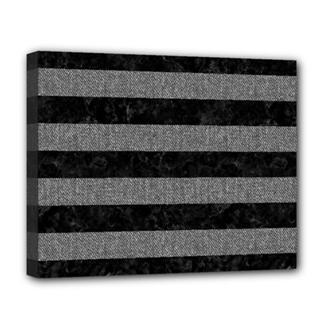 Stripes2 Black Marble & Gray Denim Deluxe Canvas 20  X 16