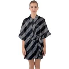 Stripes3 Black Marble & Gray Denim (r) Quarter Sleeve Kimono Robe
