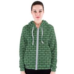 Brick1 Black Marble & Green Denim Women s Zipper Hoodie