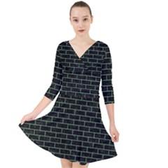 Brick1 Black Marble & Green Denim (r) Quarter Sleeve Front Wrap Dress