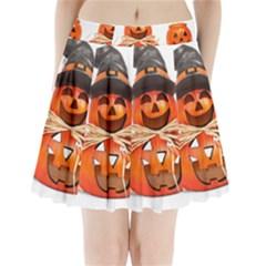 Funny Halloween Pumpkins Pleated Mini Skirt