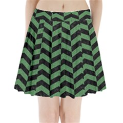 Chevron2 Black Marble & Green Denim Pleated Mini Skirt