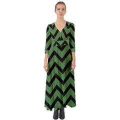 Chevron9 Black Marble & Green Denim Button Up Boho Maxi Dress