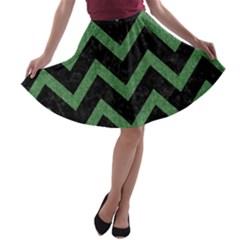 Chevron9 Black Marble & Green Denim (r) A Line Skater Skirt