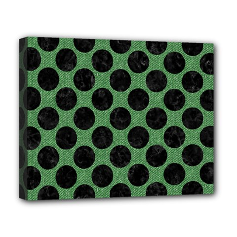 Circles2 Black Marble & Green Denim Deluxe Canvas 20  X 16