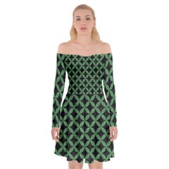 Circles3 Black Marble & Green Denim (r) Off Shoulder Skater Dress