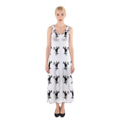 Floral Monkey With Hairstyle Sleeveless Maxi Dress
