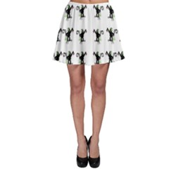 Floral Monkey With Hairstyle Skater Skirt