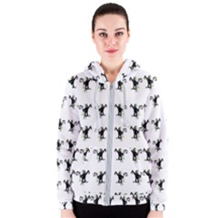 Floral Monkey With Hairstyle Women s Zipper Hoodie