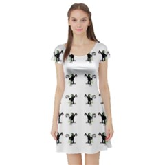 Floral Monkey With Hairstyle Short Sleeve Skater Dress
