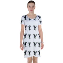 Floral Monkey With Hairstyle Short Sleeve Nightdress