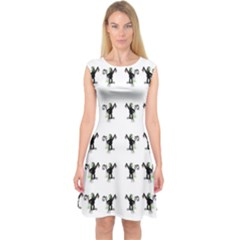 Floral Monkey With Hairstyle Capsleeve Midi Dress