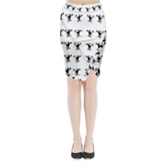Floral Monkey With Hairstyle Midi Wrap Pencil Skirt