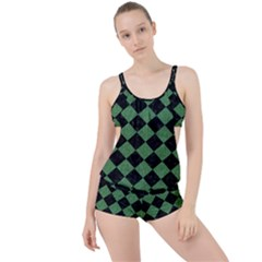Square2 Black Marble & Green Denim Boyleg Tankini Set