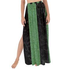 Stripes1 Black Marble & Green Denim Maxi Chiffon Tie Up Sarong