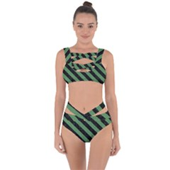 Stripes3 Black Marble & Green Denim Bandaged Up Bikini Set