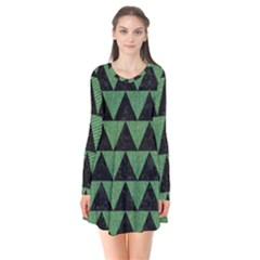 Triangle2 Black Marble & Green Denim Flare Dress