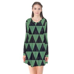 Triangle3 Black Marble & Green Denim Flare Dress