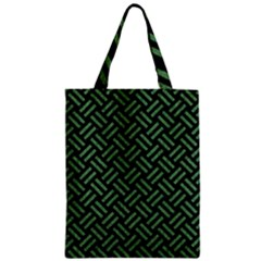 Woven2 Black Marble & Green Denim (r) Zipper Classic Tote Bag