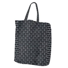 Brick1 Black Marble & Ice Crystals (r) Giant Grocery Zipper Tote
