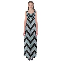 Chevron9 Black Marble & Ice Crystals Empire Waist Maxi Dress